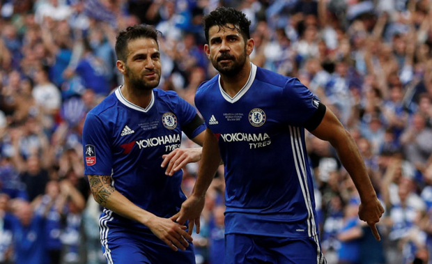 Chelsea's Cesc Fabregas and Diego Costa. Photo: REUTERS