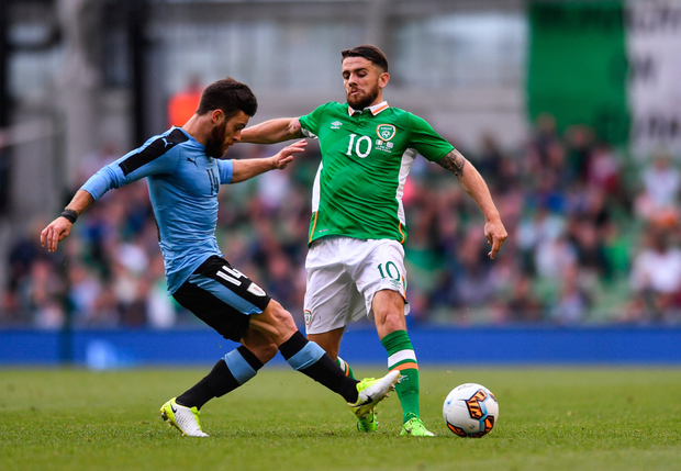 Robbie Brady, pictured in action against Uruguay last Sunday. Pic: Sportsfile