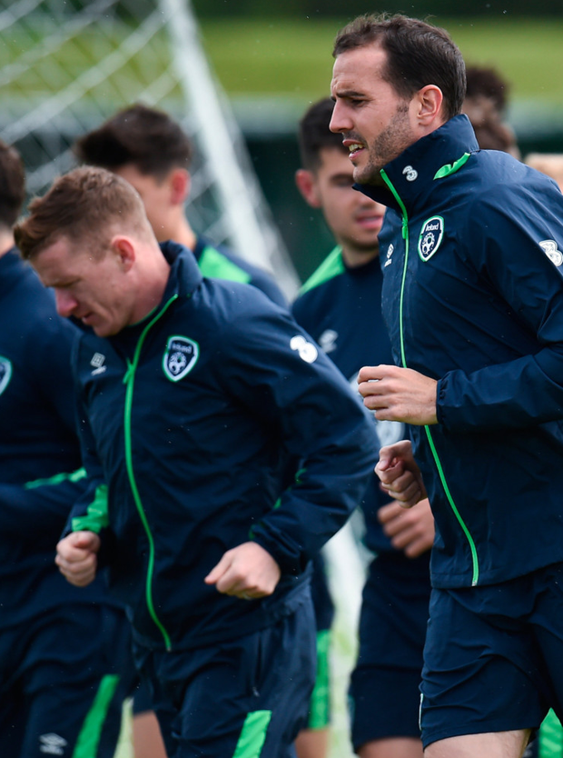Johnny Hayes and John O'Shea are pictured during training yesterday ahead of Sunday's World Cup qualifier against Austria. Photo: Sportsfile