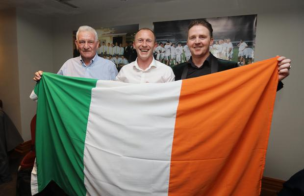 (l-r) Dr Conal Hooper is pictured with two members of the 1997 Under-20 Ireland team, Trevor Molloy and Dessie Bake