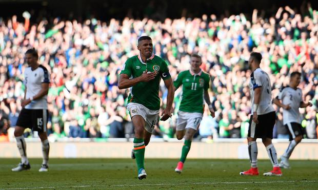 Republic of Ireland's Jonathan Walters celebrates scoring their first goal