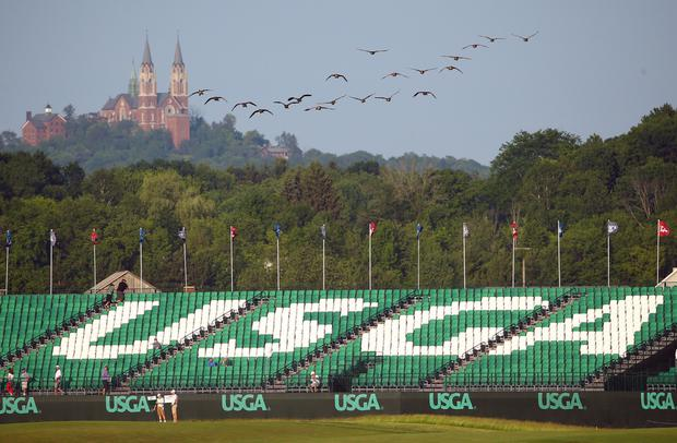 A view of the 18th grandstand ahead of the opening round of the US Open golf tournament at Erin Hills