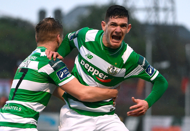 Trevor Clarke, right, of Shamrock Rovers celebrates with team-mate Simon Madden