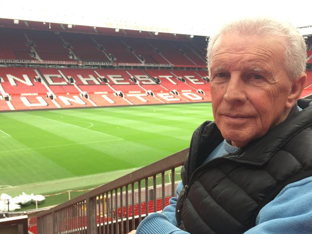John Giles visits Old Trafford for the TV documentary 'Giles' which will be broadcast on RTÉ next week.
