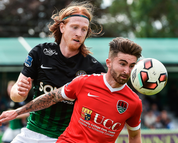 Seán Maguire of Cork City (right) in action against Hugh Douglas of Bray Wanderers