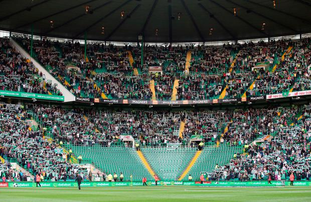 Fans in the area housing the Green Brigade at Parkhead