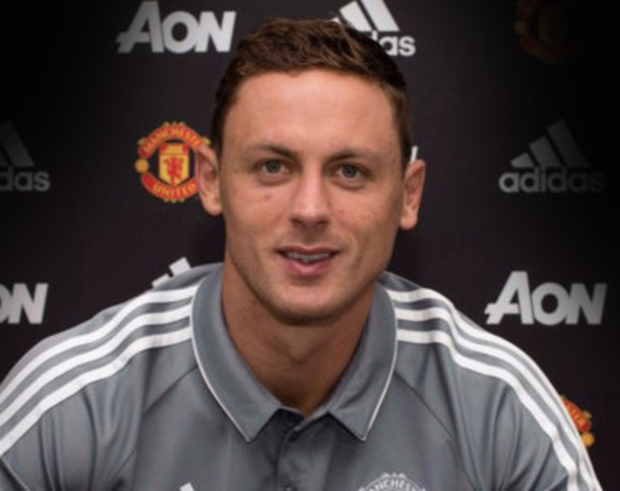 Nemanja Matic is pictured after signing a three-year deal for Manchester United yesterday