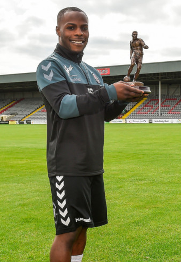 Bohemians' Fuad Sule is pictured with his SSE Airtricity/SWAI Player of the Month Award for July at Dalymount Park