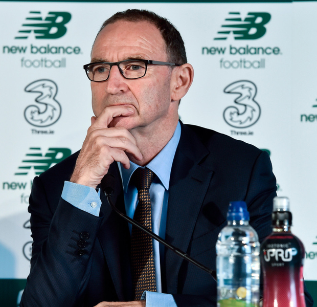 Ireland manager Martin O'Neill is pictured at yesterday's squad announcement