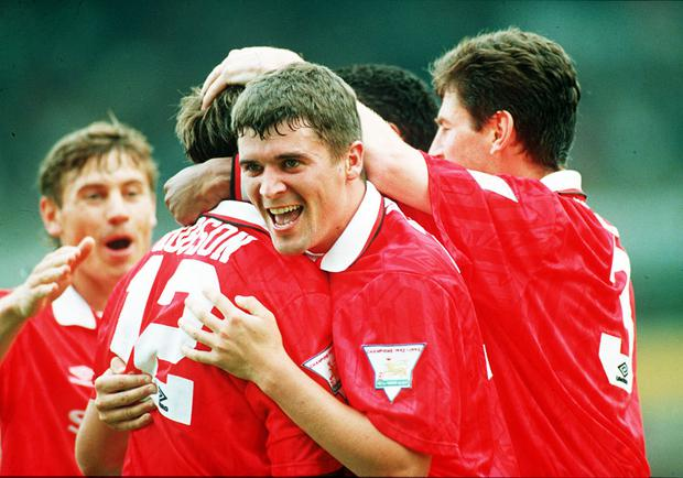 Roy Keane, pictured here during his first season with Manchester United back in 1994