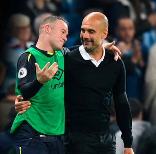 Everton's Wayne Rooney with Pep Guardiola