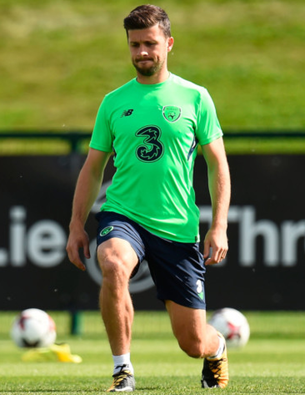 Shane Long is pictured in Ireland training ahead of tomorrow's World Cup qualifier against Georgia in Tbilisi