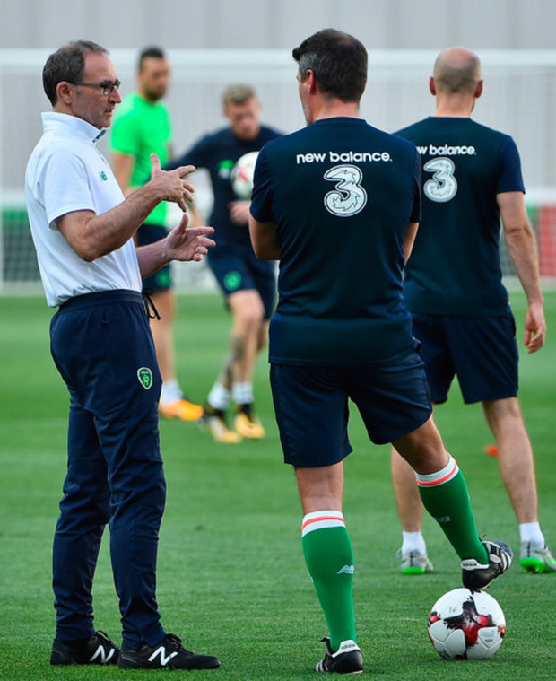 (l-r) Ireland manager Martin O'Neill talks to his assistant Roy Keane during training at the Boris Paichadze Dinamo Arena in Tbilisi, Georgia. Pic: Sportsfile