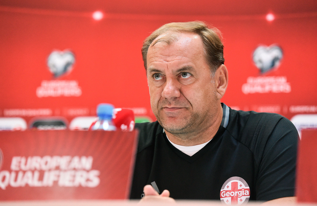 Georgia manager Vladimir Weiss, pictured in yesterday's press conference. Pic: Sportsfile