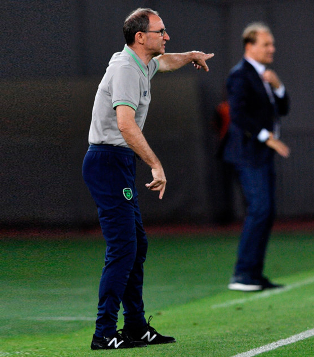 Ireland manager Martin O'Neill gestures during the World Cup Group D qualifying draw with Georgia in Tbilisi on Saturday.