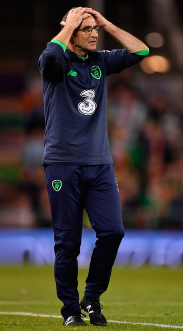 O'Neill shows his frustration during Tuesday's defeat to Serbia