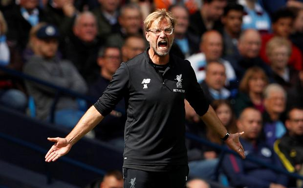 Liverpool manager Jurgen Klopp shows his frustrations during the defeat at the Etihad on Saturday. Photo: REUTERS