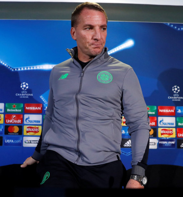 Celtic manager Brendan Rodgers is pictured after a press conference as he prepares for tonight's clash with PSG