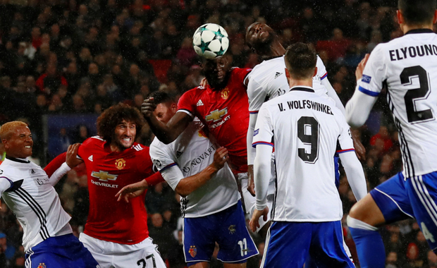 Romelu Lukaku scores Manchester United's second goal in the win over Basel last night. Photo: Reuters
