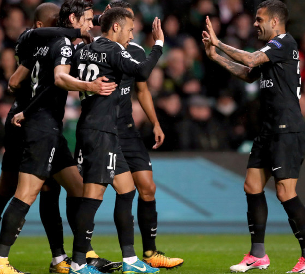 PSG's scorer Neymar, front left, and his team-mates celebrate the opening goal during the Champions League Group B win over Celtic at Parkhead last night. Photo: AP