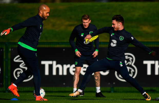 Ireland's Darren Randolph, left, and Scott Hogan are pictured during squad training at the FAI National Training Centre in Abbotstown yesterday. Photo: SPORTSFILE