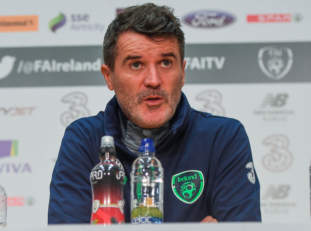 Ireland assistant manager Roy Keane speaks during yesterday's press conference at the FAI National Training Centre