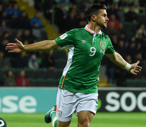 Shane Long celebrates his goal in the Group D win over Moldova in Chisinau on October 9th, 2016 - the last time Long scored for his country