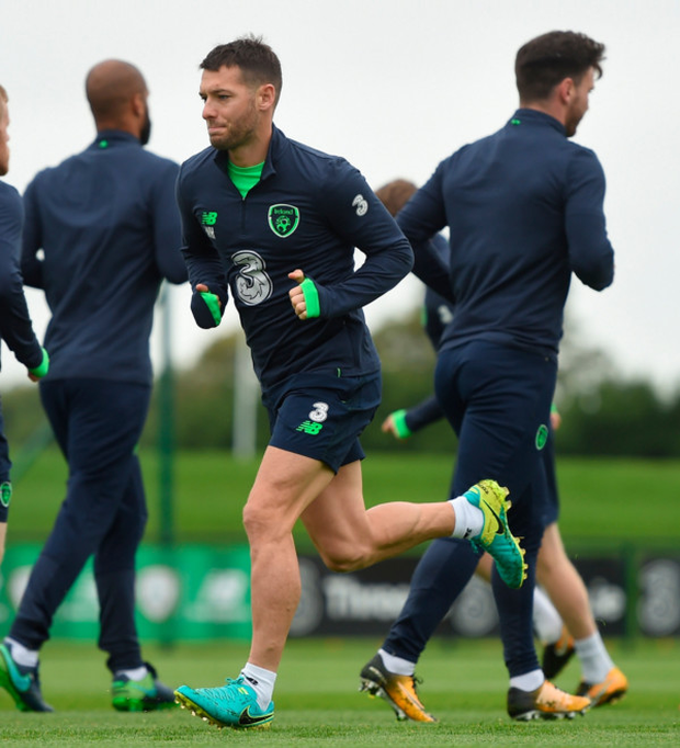 Wes Hoolahan limbers up during training at the FAI training base in Abbotstown yesterday ahead of tomorrow's clash with Moldova at the Aviva Stadium. Photo: