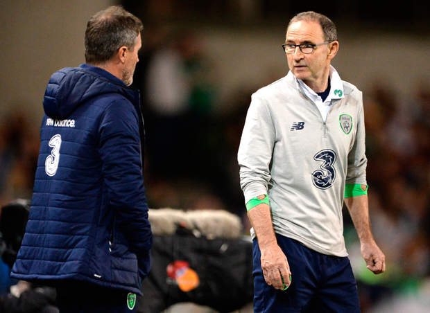 Roy Keane and Martin O'Neill during last night's clash