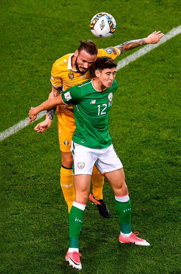 The Republic of Ireland's Callum O'Dowda competes with Moldova's Petru Racu during their Group D match at the Aviva Stadium last night. Photo: Sportsfile