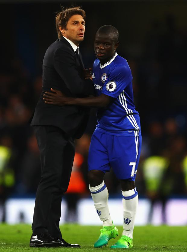 Chelsea manager Antonio Conte and N'Golo Kante