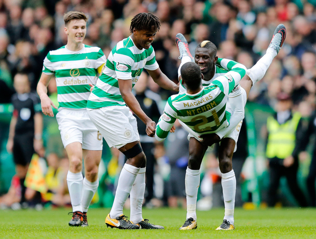 Celtic's Jules Olivier Ntcham celebrates scoring his side's only goal during the Scottish Premiership win over Dundee at Celtic Park. Photo: PA Wire