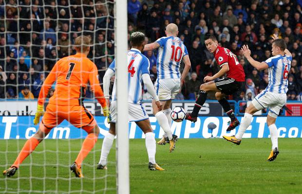 Manchester United midfielder Ander Herrera goes close with a header in the Premier League defeat to Huddersfield on Saturday