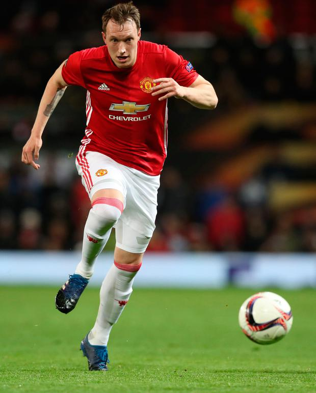 Phil Jones trained yesterday after going off injured in last Saturday's defeat at Huddersfield. Photo: PA Wire