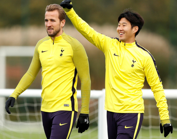 Tottenham's Harry Kane and Son Heung-min are pictured in training ahead of tonight's Champions League clash with Real Madrid at Wembley