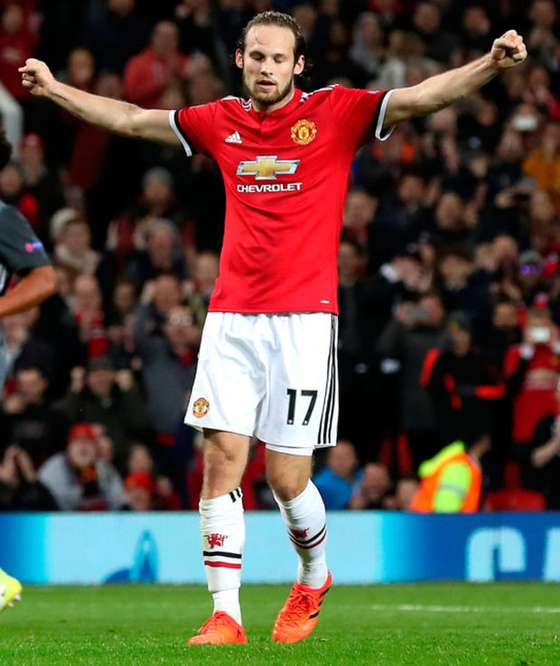 Manchester United's Daley Blind celebrates scoring his side's second goal during the Champions League match against Benfica at Old Trafford. Photo: PA