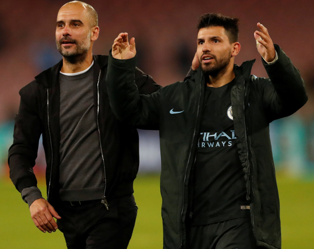 Manchester City boss Pep Guardiola celebrates with Sergio Aguero after Wednesday night's win over Napoli
