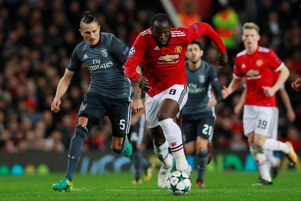 Manchester United striker Romelu Lukaku in action against Benfica in midweek. Pic: Reuters
