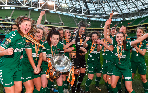 Cork City WFC players celebrate with the cup after the Continental Tyres FAI Women's Cup Final