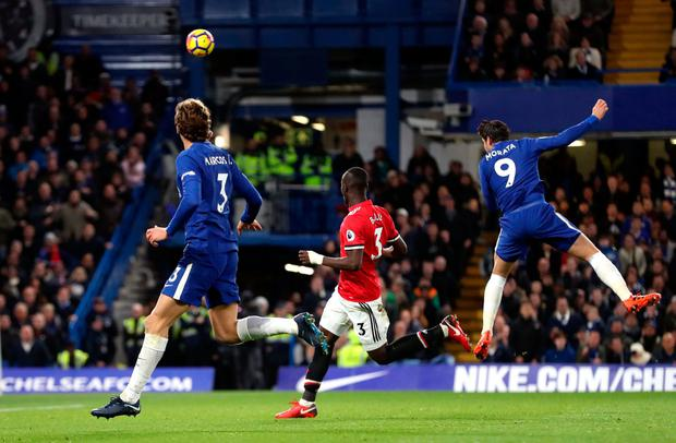 Chelsea's Alvaro Morata scores his side's first goal of the game