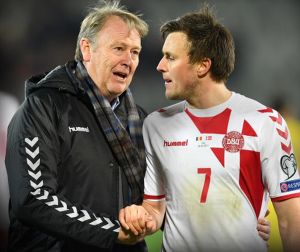 Denmark midfielder William Kvist is pictured with manager Age Hareide