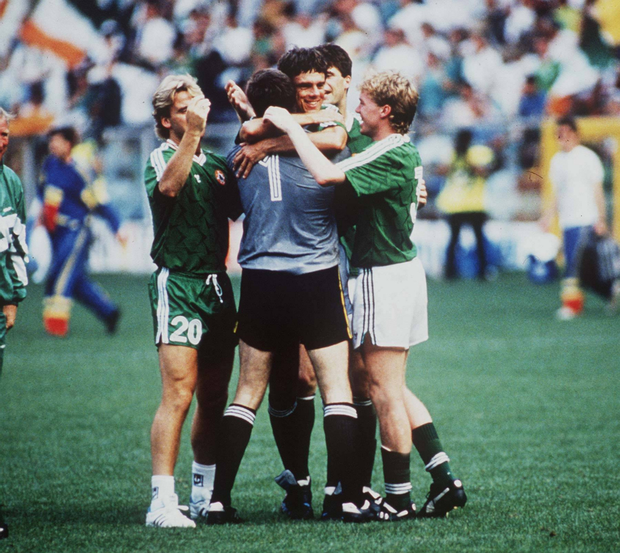 Ireland players celebrate David O'Leary's winning spot-kick in the World Cup second round penalty shoot-out win over Romania in Genoa back in 1990.