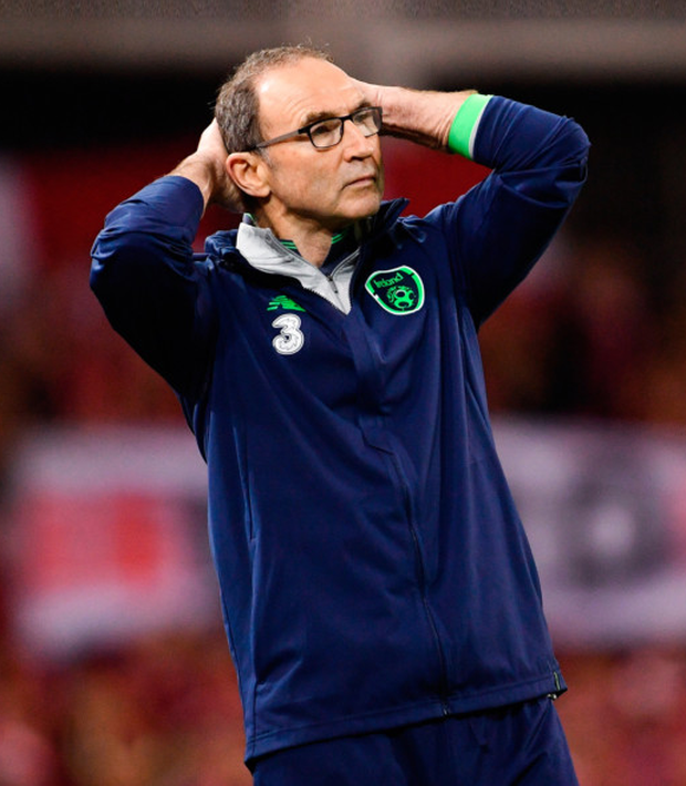 Ireland manager Martin O'Neill looks on in disbelief during the World Cup play-off thrashing at the hands of Denmark.