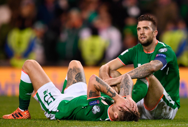 Dejected Ireland pair Jeff Hendrick (left) and Shane Duffy.