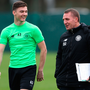 (l-r) Celtic defender Kieran Kierney and his manager Brendan Rodgers