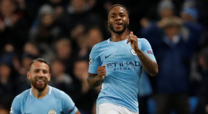 Manchester City's Raheem Sterling celebrates after scoring his sides last-gasp winner