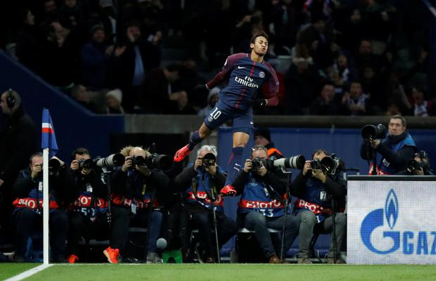 PSG's Neymar celebrates in last night's 7-1 Champions League win over Celtic.