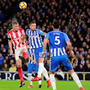 Brighton's Shane Duffy, in action here against Stoke's Ryan Shawcross last Monday, has been a talismanic figure for the Seagulls since the start of the Premier League season