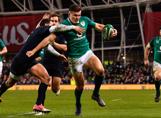 Jacob Stockdale on his way to scoring Ireland's second try against Argentina during the Guinness Series match at the Aviva Stadium. Photo: Sportsfile