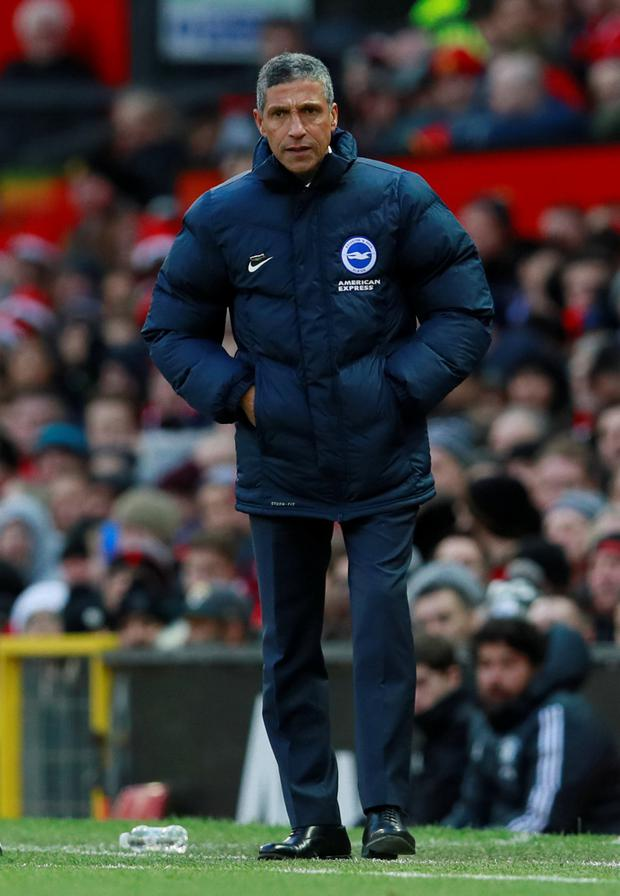 Brighton boss Chris Hughton wants his side to forget about Satursday's defeat to Manchester United and focus on beating Crystal Palace in tonight's derby clash. Pic: Reuters